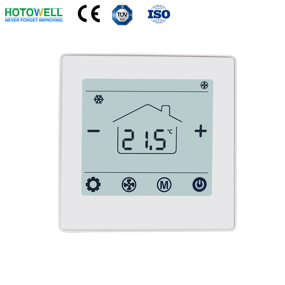 Hotowell Bacnet FCU thermostat with Flat tempered glass display