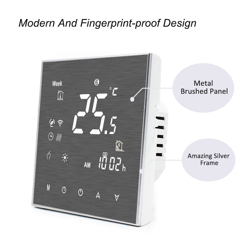 New metal color smart electric heating programmable room thermostat